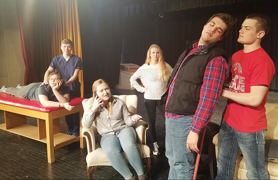 Practicing for this weekend's production are L to R -- Julia Renkly, Tim Mumm, Katelyn Kluver, Ellie Gross, Spencer Dozler and Thomas Frederick.