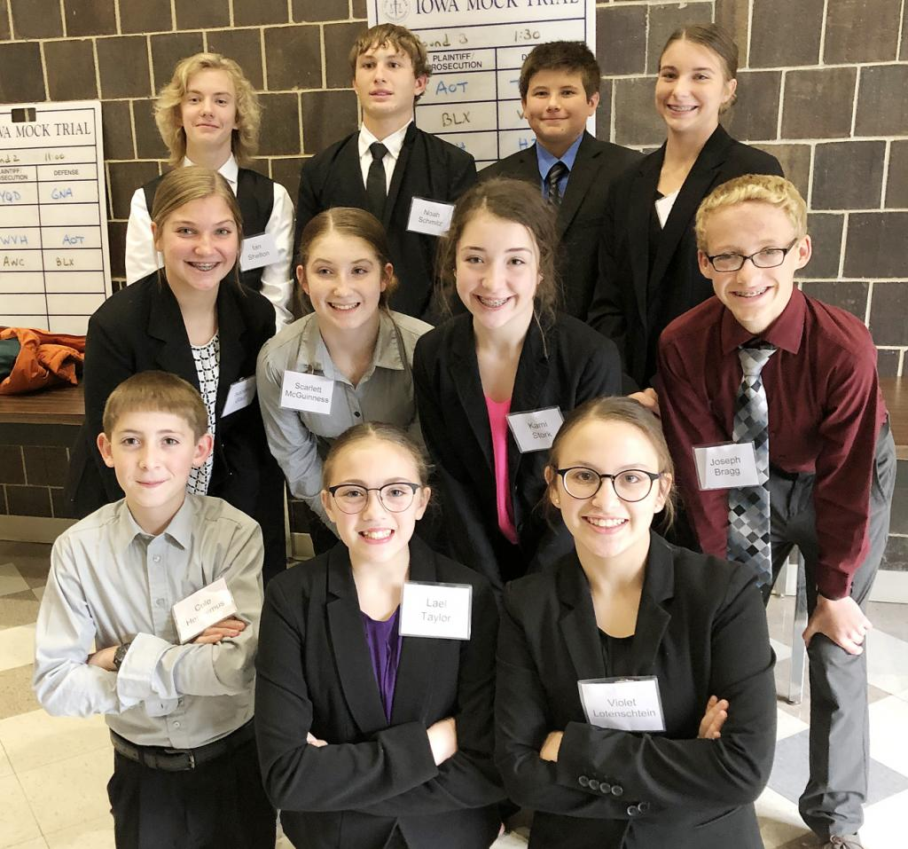 Eighth-grade team back L to R - Ian Shelton, Noah Schmitz, Gavin Bruck, and Darbie Argotsinger.  Middle L to R - Isabelle Gaul, Scarlett McGuinness, Kami Stork, and Joseph Bragg.  Front L to R - Cole Heronimus, Lael Taylor, and Violet Lotenschtein.  (Photos contributed)