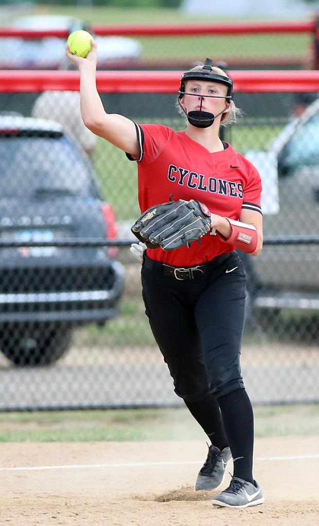 HCHS third baseman Aurora Miller throws out an LC runner.