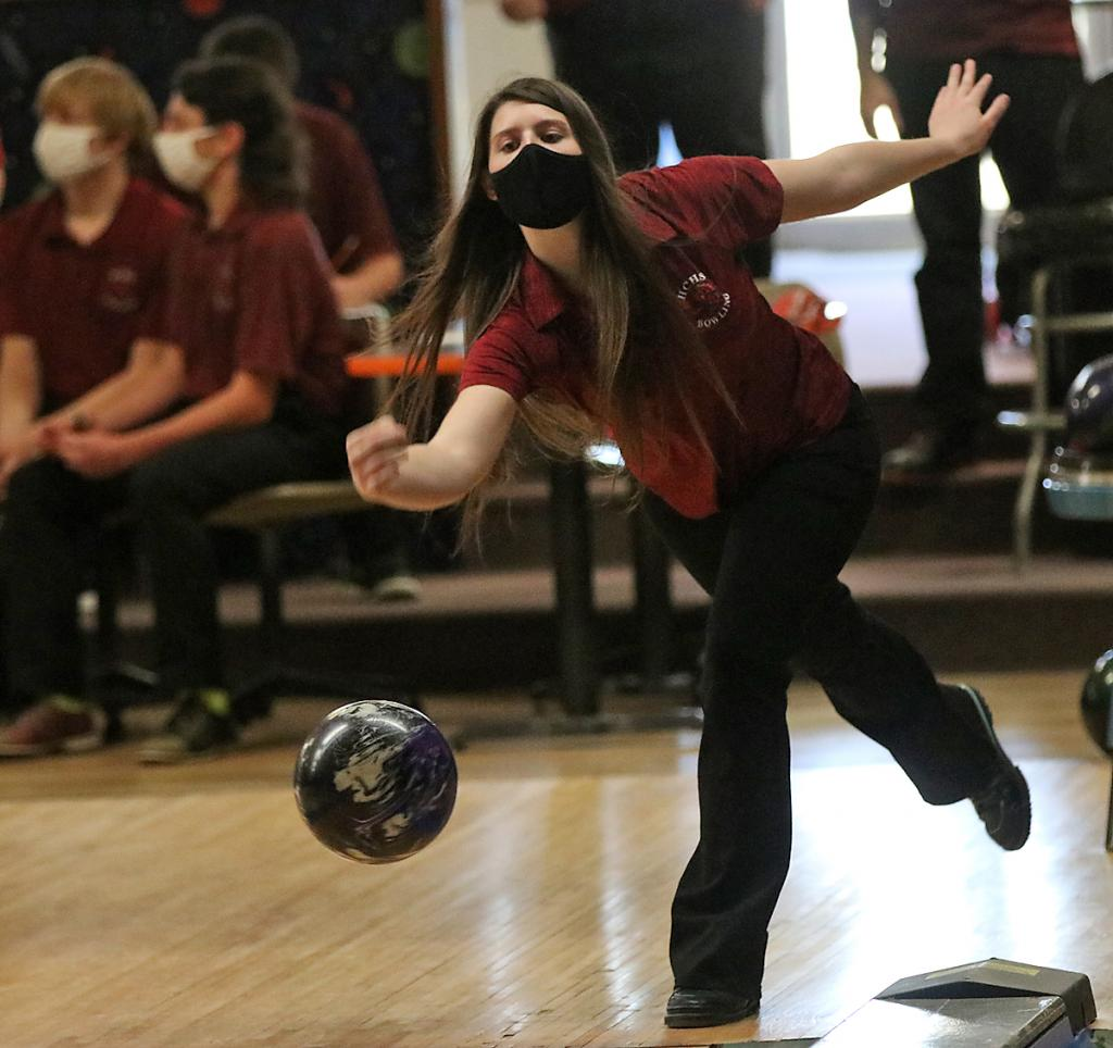 Harlan Community senior Abby Swank rolled two-game series scores of 323 and 305 during recent home meets for the Cyclone girls bowling team. (Photos by Mike Oeffner)