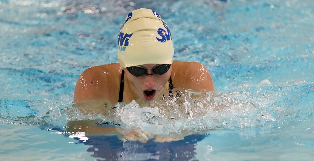 Aurora Miller competes in the breaststroke.