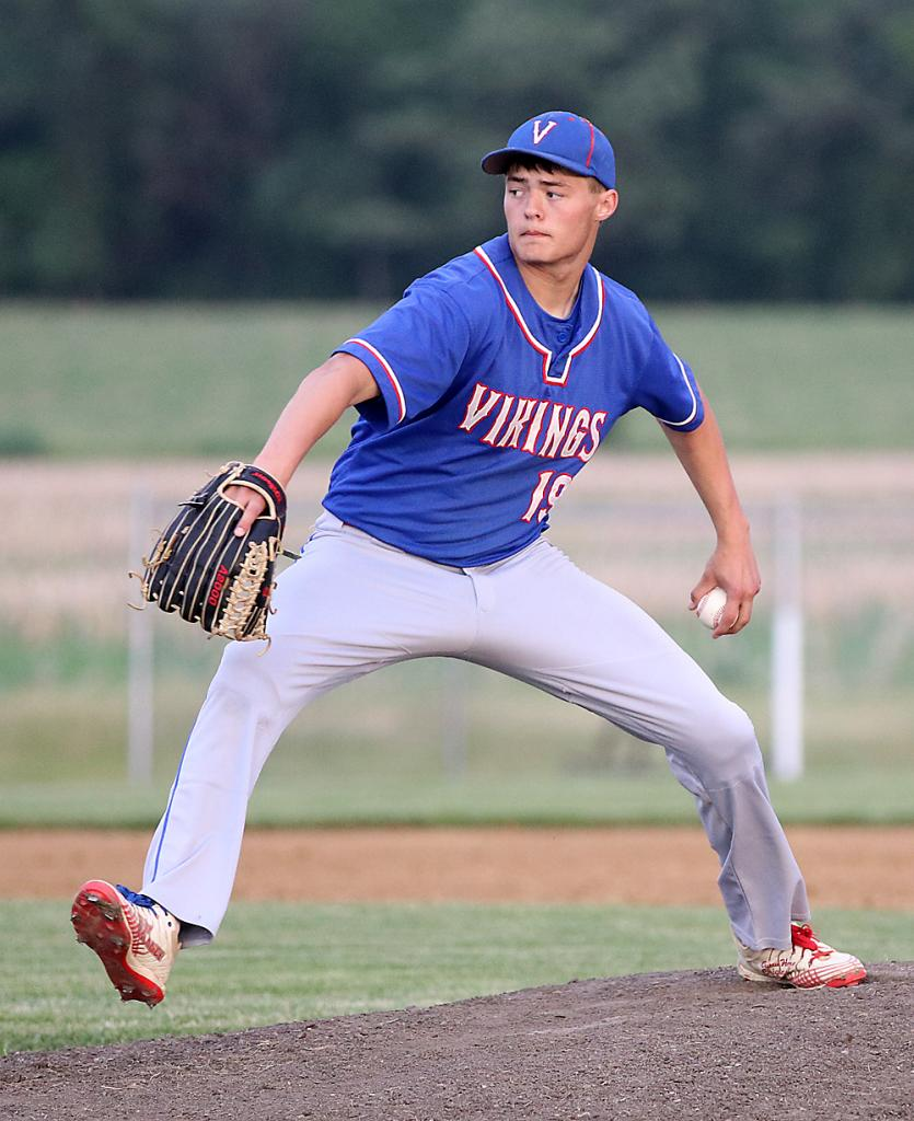 Viking sophomore Brayden Lund pitched three and a third innings and took the loss vs. T-C.