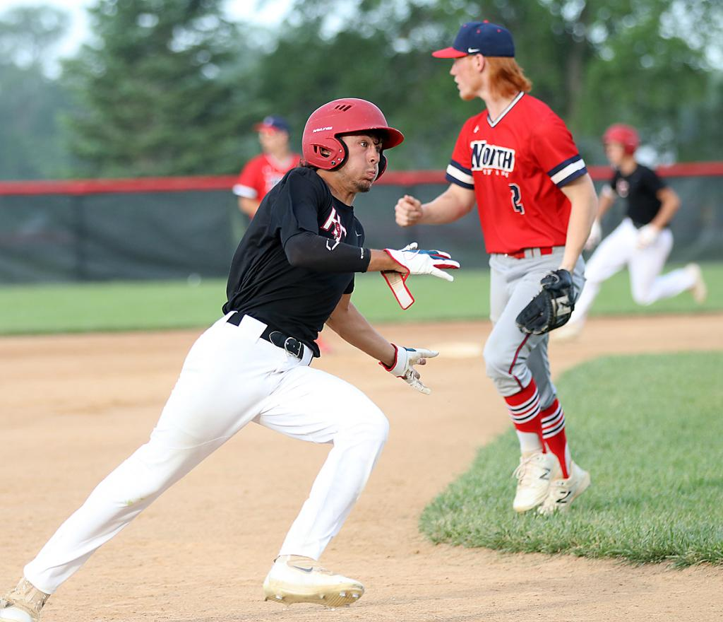 Harlan Community senior Ben Muenchrath races around third to score a first-inning run on Cade Sears' bases-clearing triple during game two of Monday's doubleheader vs. Sioux City North.