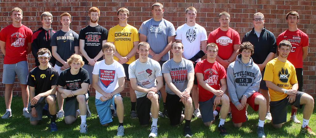 HCHS Boys' State Track Qualifiers & Alternates --- Front row, L-R: T. Gross, M. Griffith, C. Bruck, J. Monson, A. Schechinger, T. Frederick, J. Fah, J. Owens. Back row, L-R: P. Mulligan, A. Schiltz (manager), M. Erlemeier, T. Fah, E. Boldan, D. Weyer, J. McLaughlin, C. Bieker, H. Frum (manager), B. Bartley.