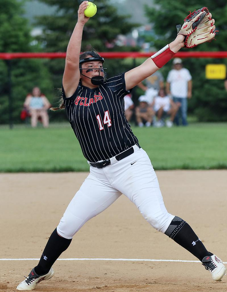 Harlan Community senior Emily Brouse, shown pitching against Atlantic June 8, threw a five-inning perfect game with 12 strikeouts Thursday night as the Cyclones routed St. Albert 10-0. (Photo by Mike Oeffner)