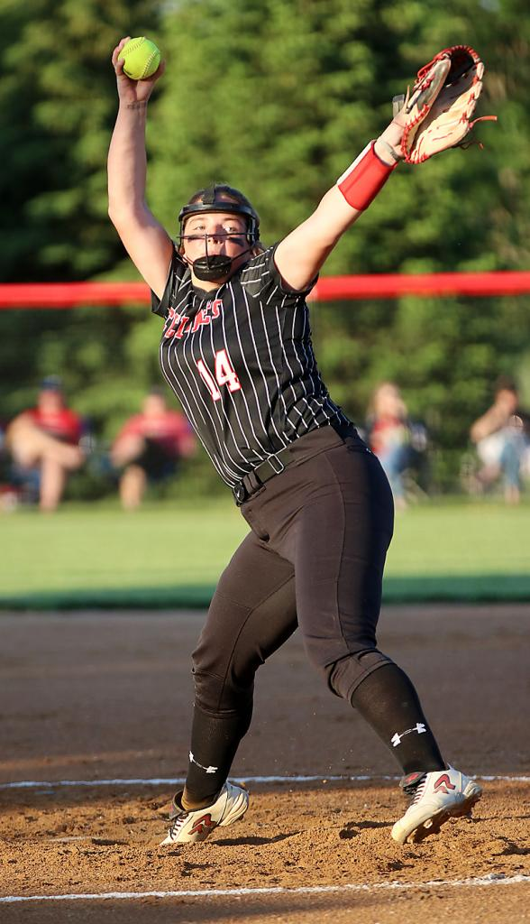 HCHS senior Emily Brouse pitched a three-hitter with 10 strikeouts and also had the game-winning hit as the Cyclones rallied past Creston 4-3 in game two of Tuesday's doubleheader split.