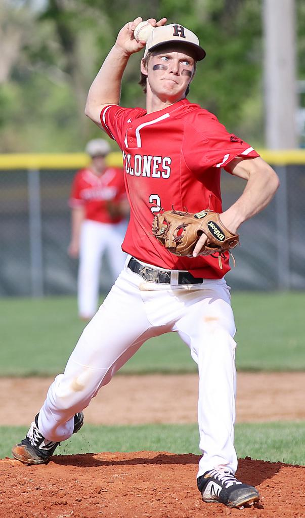 Harlan Community junior Connor Bruck pitched five scoreless innings of relief to earn the win against Sioux City Heelan on Friday. (Photos by Mike Oeffner)