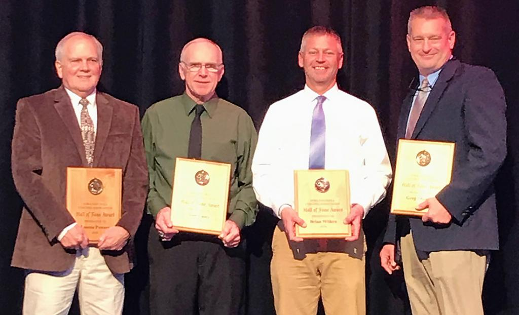 The 2019 Iowa Football Coaches Association Hall of Fame inductees include, left-right: Lonnie Powers (Lone Tree, WACO, Knoxville), Tom Casey (I-K-M, IKM-Manning), Brian Wilkens (Newell-Fonda) and Greg Thomas (Humboldt). (Photos contributed)