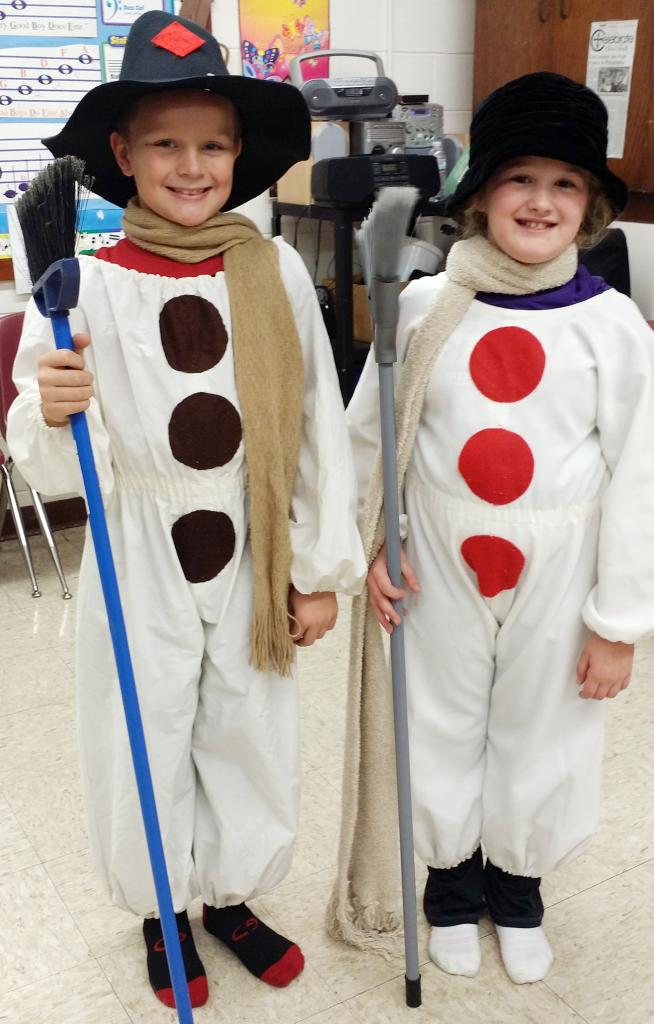 Shown here practicing their parts are third-graders Brett Heese and Lauren Gaul, dressed as Frosty and Mrs. Frosty.