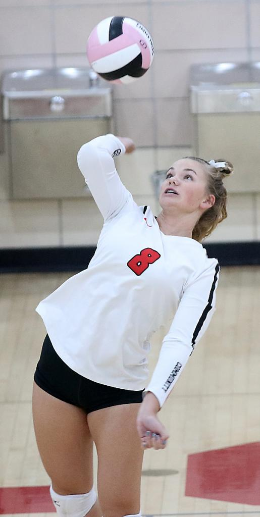 HCHS senior Jocelyn Cheek served 12-for-12 with three aces against the Monarchs.