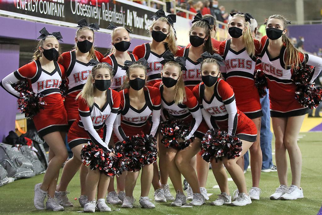 HCHS cheerleaders at the Dome - front row, L-R: Kadense Bradley, Taryn Yamada, Regan Kramer, Katie Burchett. Back row, L-R: Kira Griffin, Anyston Henning, Zoey Bowers, Laney Handlos, Kelsi Hoffman, Bailey Arnold, Emma Smith.
