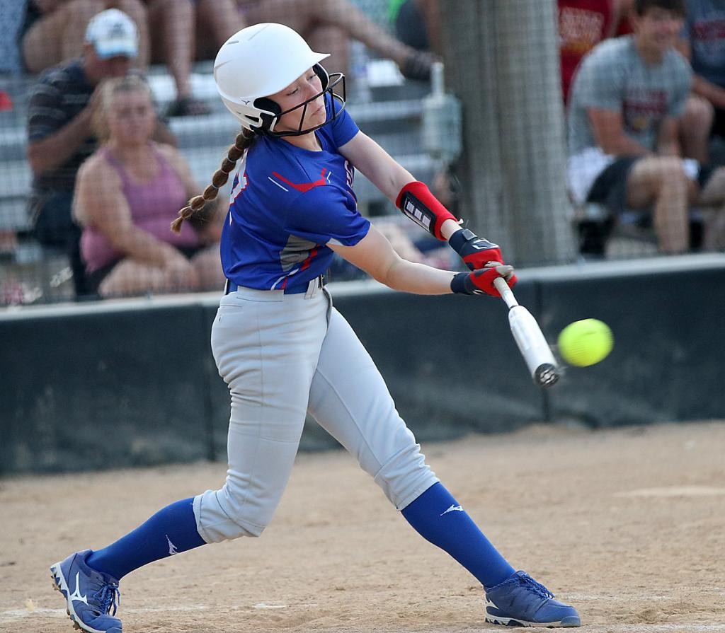 Lady Vike eighth-grader Sienna Christian connects for a third-inning hit.
