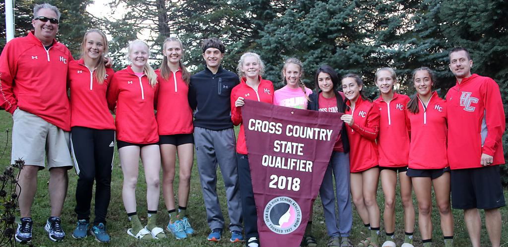 The Harlan Community girls cross country team, along with sophomore Trey Gross, qualified for the state meet on Thursday with their performances at the Class 3A State Qualifying Meet in Glenwood. Left-right: HCHS head coach Doug Renkly, Raegen Wicks, Greichaly Kaster, Lucy Borkowski, Trey Gross, Brecken Van Baale, Olivia Anderson, Abi Baldwin, Abby Alberti, Liv Freund, Kaia Bieker, HCHS assistant coach Zach Klaassen.