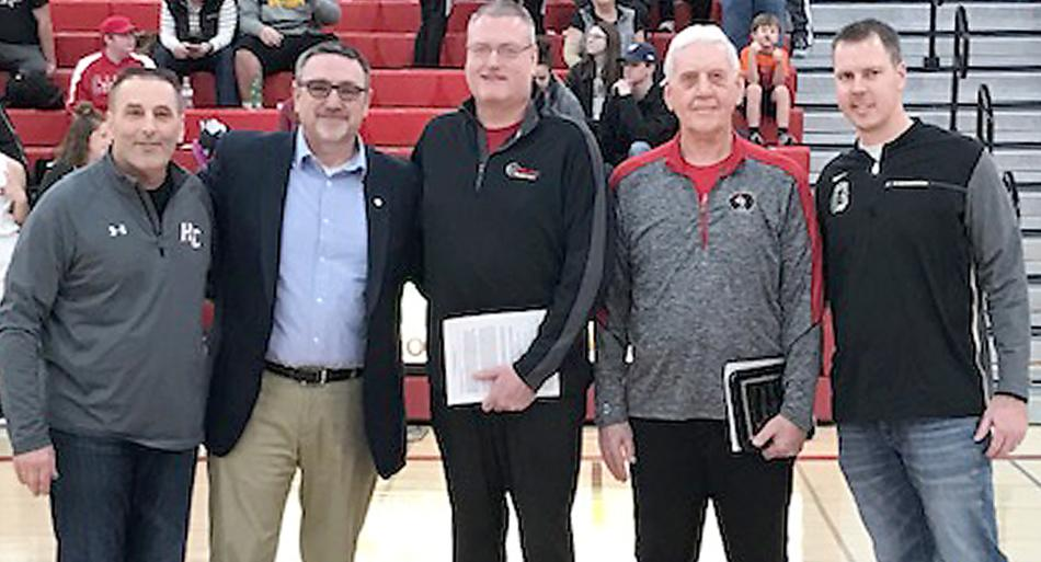 Dr. Lonnie Pitts and Richard Daberkow were presented awards from the Iowa High School Athletic Directors Association on January 26. Left-right: Harlan Community Activities Director Mitch Osborn, IHSADA President Todd Gordon, Dr. Lonnie Pitts (2019 Sports Medicine Person of the Year), Richard Daberkow (2019 Outstanding Service Award for Community Support), Glenwood Athletic Director Jeff Bissen. (Photo contributed)