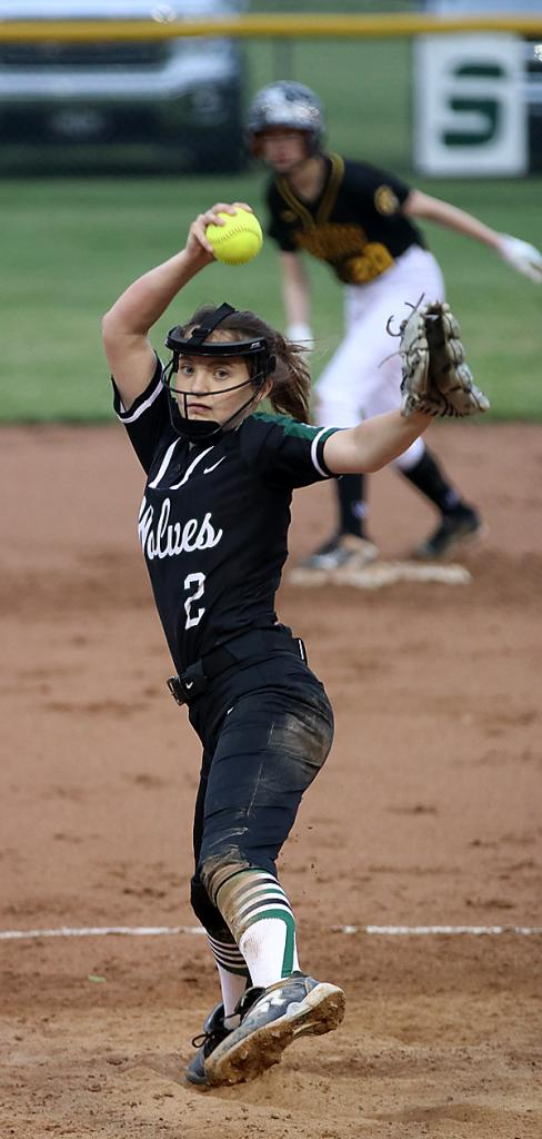 Ella Richards delivers a pitch for the Wolves.