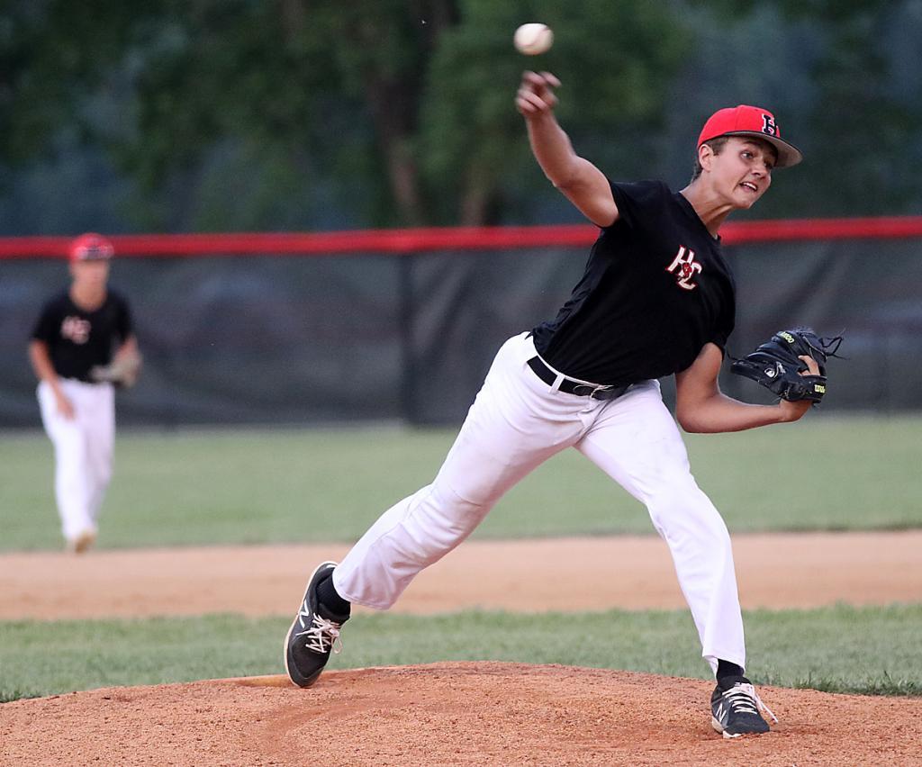 HCHS freshman Franz Reisz pitched five innings vs. Kuemper.