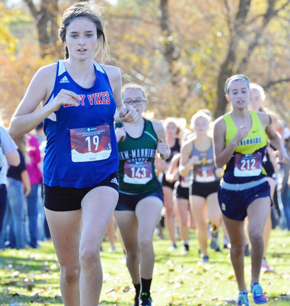 AHSTW sophomore Chloe Falkena (left) placed eighth at Thursday's Class 1A State Qualifying Meet in Guthrie Center and qualified for the October 27 state meet. Also qualifying was teammate Julia Kock, who placed 13th.