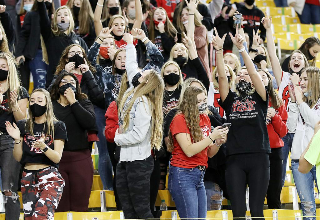 The Cyclone faithful cheer a touchdown in the semi-final win last week at the UNI-Dome.  The Cyclones take on North Scott in the championship game Thursday.