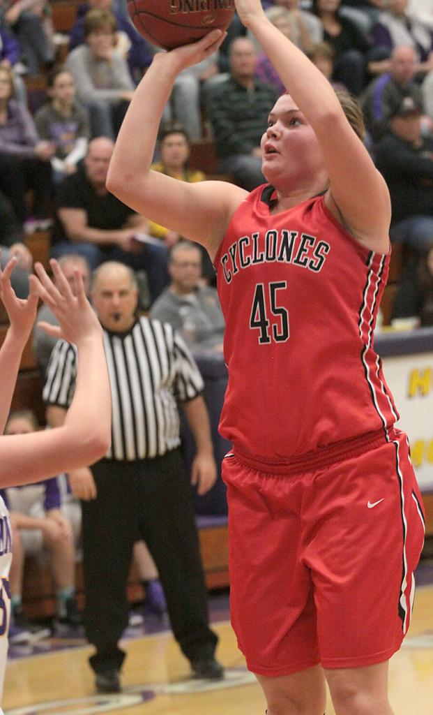 HCHS senior Taylor Frederick shoots for two of her 13 points during Friday's win over Denison.