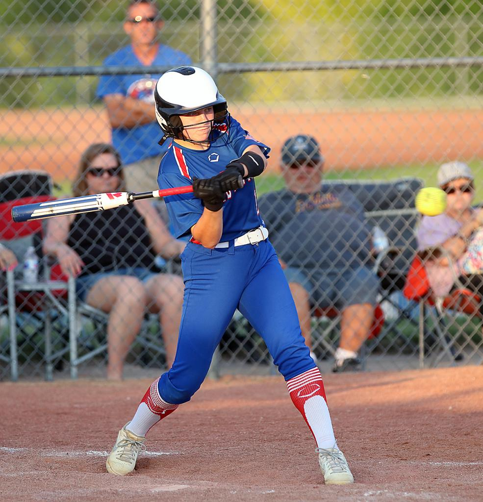 AHSTW's Grayson Gettler keeps her eyes on the ball as part of a 2-for-4, three-RBI game in the Lady Vikes' 7-6 loss to the Panthers. (Photos by Mike Oeffner)