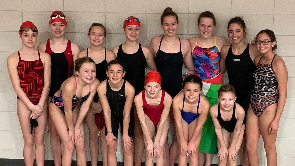 Harlan Swim Club: Girls State Meet Participants ---- Front row, L-R: Arianna Daniels, Anja Taylor, McKenna Vanden Berg, Josie Daniels, Pyper Montgomery. Back row, L-R: Kennedy Zehner, Ainsley Lockey, Kara Wingert, Addie Berndt, Emeri Smith, Ainsley Mages, Aubri Smith, Kori Smith. (Photo contributed)