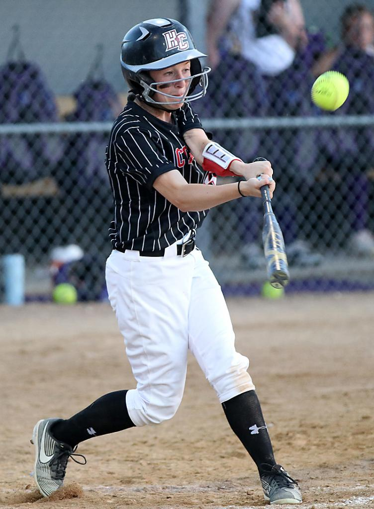 Miranda Goetz hits the ball in the air vs. Denison. Goetz scored two runs and had one RBI.