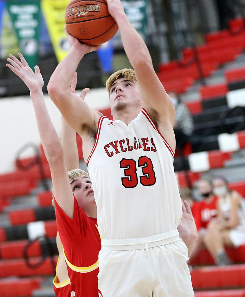 HCHS sophomore Aidan Hall, shown vs. Kuemper December 8, led the Cyclones with 13 points at Clarinda. (File photo)