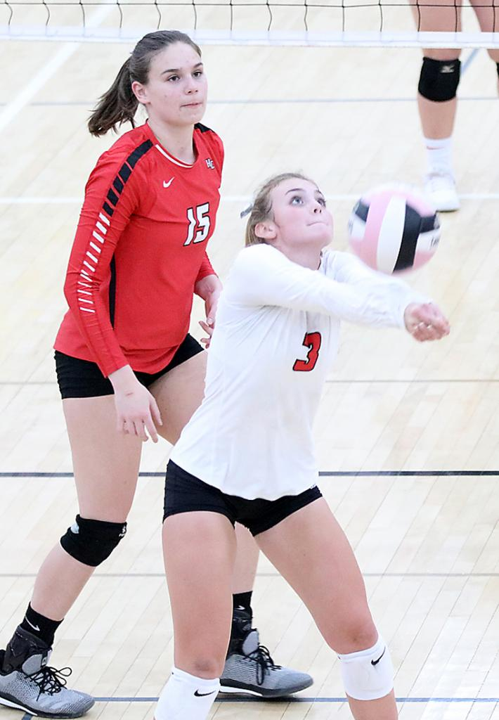 Harlan Community junior libero Ashley Hall (3) was named first team All-Hawkeye Ten Conference and junior middle Lauren Andersen (15) received honorable mention plaudits.