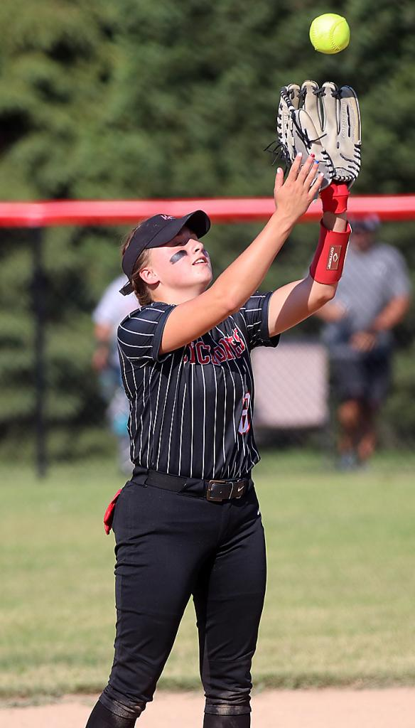 Cyclone shortstop Kate Heithoff catches an infield pop fly.