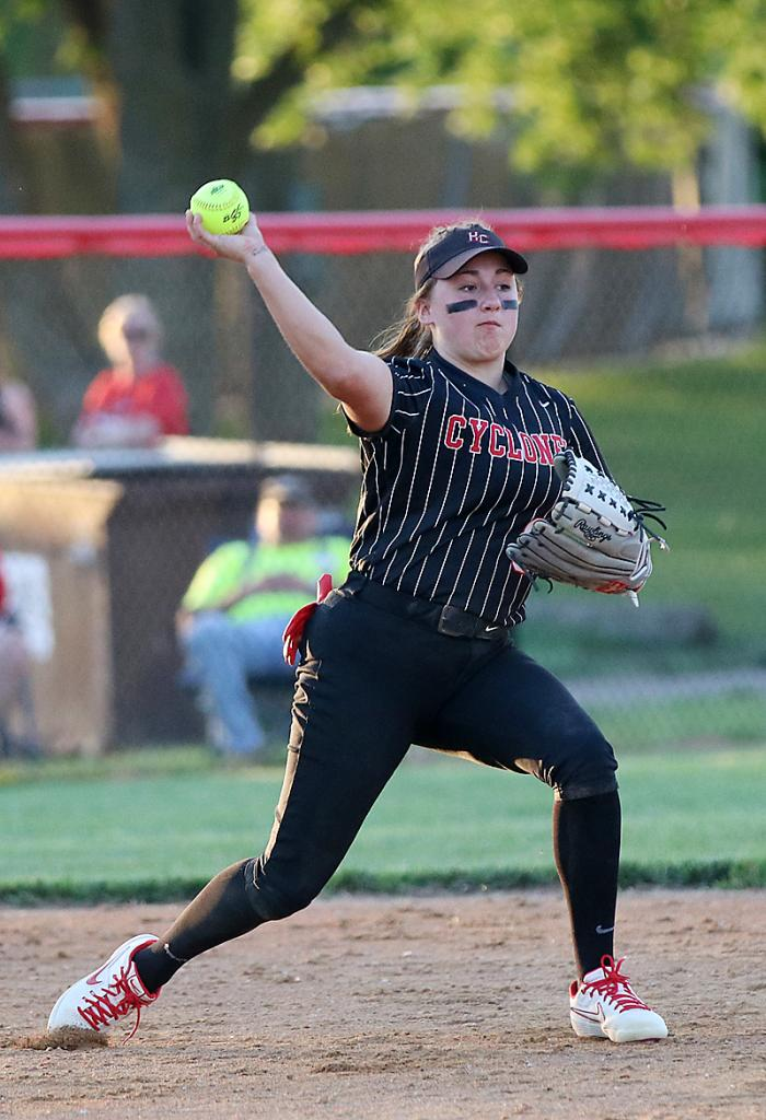HCHS shortstop Kate Heithoff throws to second base for a force play during game two.