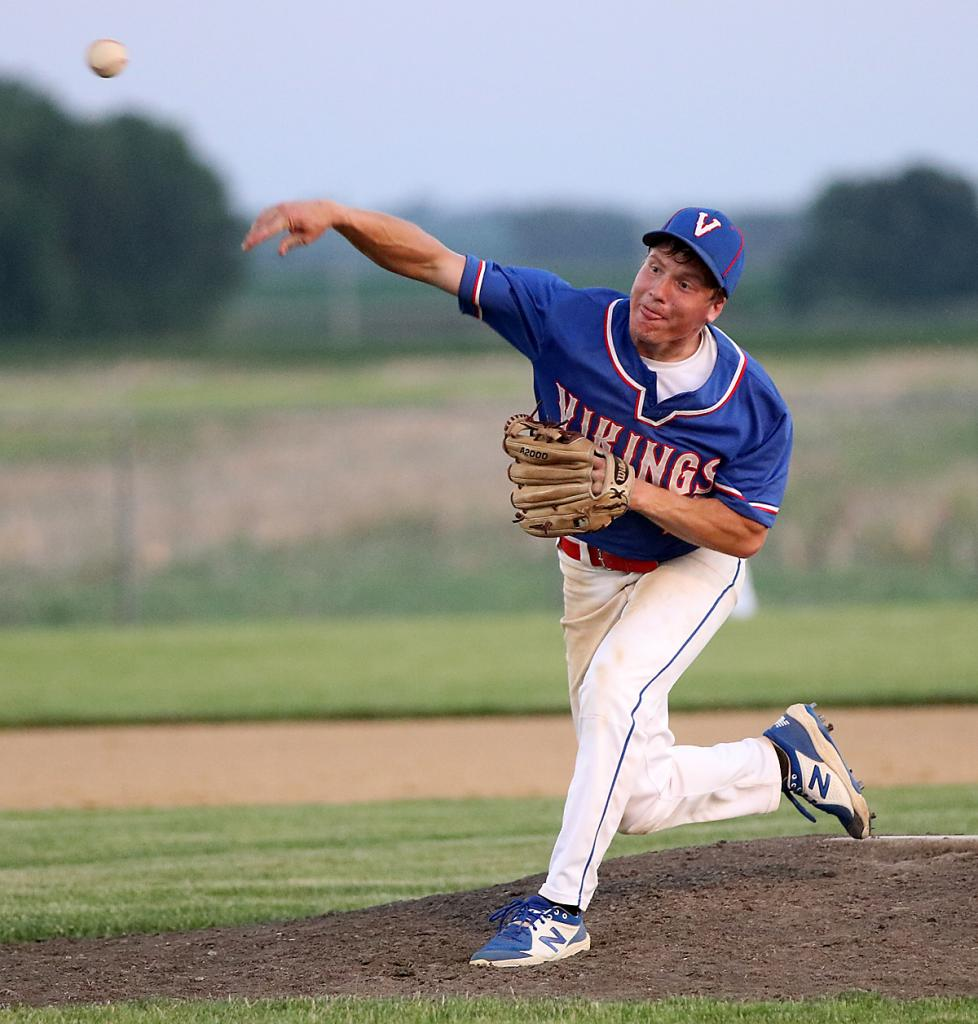 Viking senior Blake Holst pitched five innings of quality relief to earn the win as AHSTW prevailed 3-2 over IKM-Manning on June 8. (Photos by Mike Oeffner)