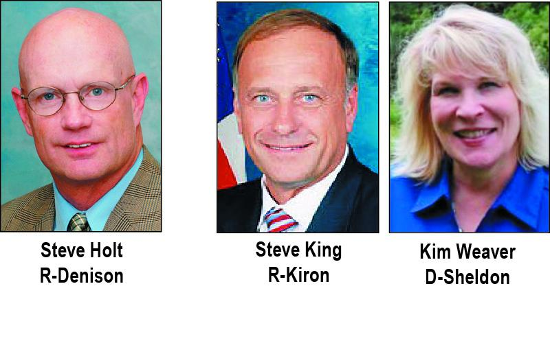 Holt unopposed for IA House.<br />U.S. Rep. Candidates King and Weaver.