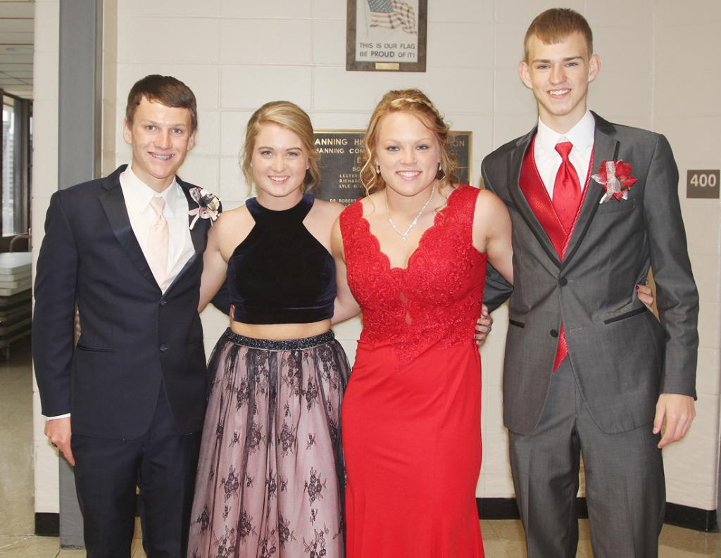 Ready for the IKM-Manning grand march in Manning were from left: Zach Willenborg, Emily Powers, Lexi Branning and Ben Lingle.  See more  photos inside today's Harlan News-Advertiser.