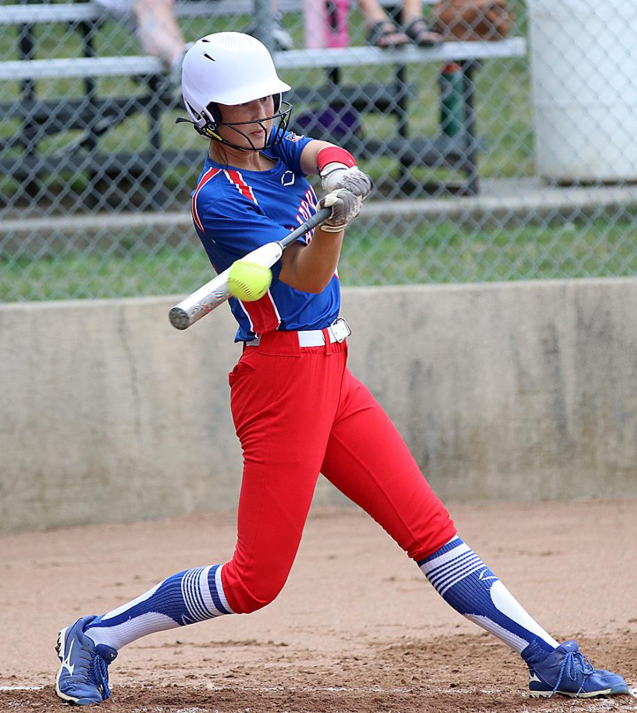 Lady Vike senior Kailey Jones connects for a triple.
