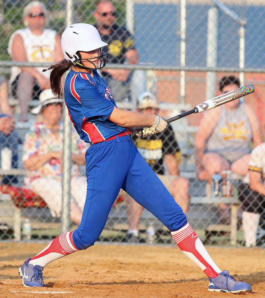 Senior Kailey Jones hits a first-inning single that drove in Graycen Partlow. The Lady Vikes scored three runs in the first and outlasted Tri-Center 4-3.