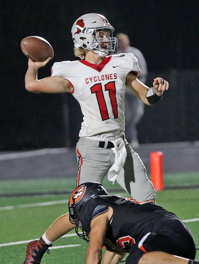 HCHS quarterback Teagon Kasperbauer completed 9-of-18 passes for 216 yards and one TD on Friday.