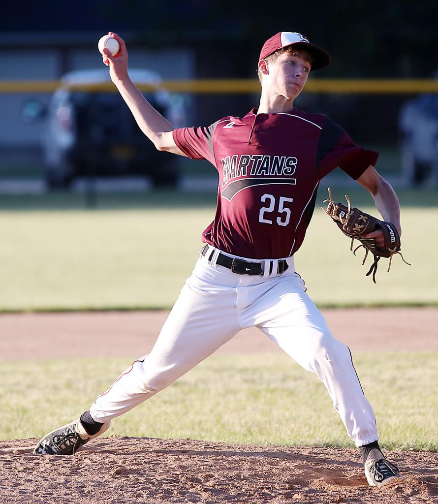 Junior Tyler Kingery pitched five quality innings as the Spartans defeated the Wildcats by the 10-run rule, 15-1.