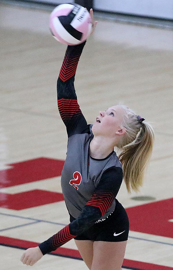 HCHS junior Lindsey Andersen served 19-for-20 with an ace against Shenandoah.