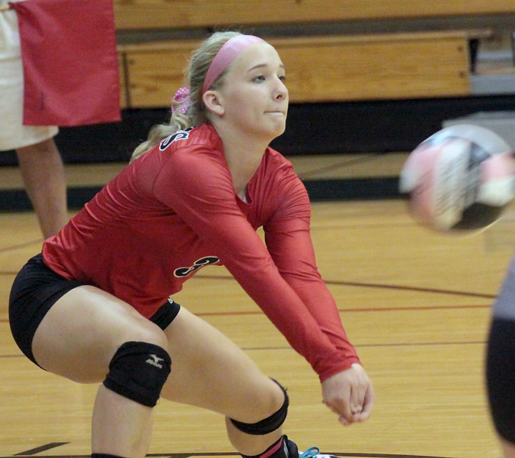 HCHS senior Jordyn Moser led the team with 38 digs and was also solid on serve receive passing during Tuesday's triangular against St. Albert and Glenwood.