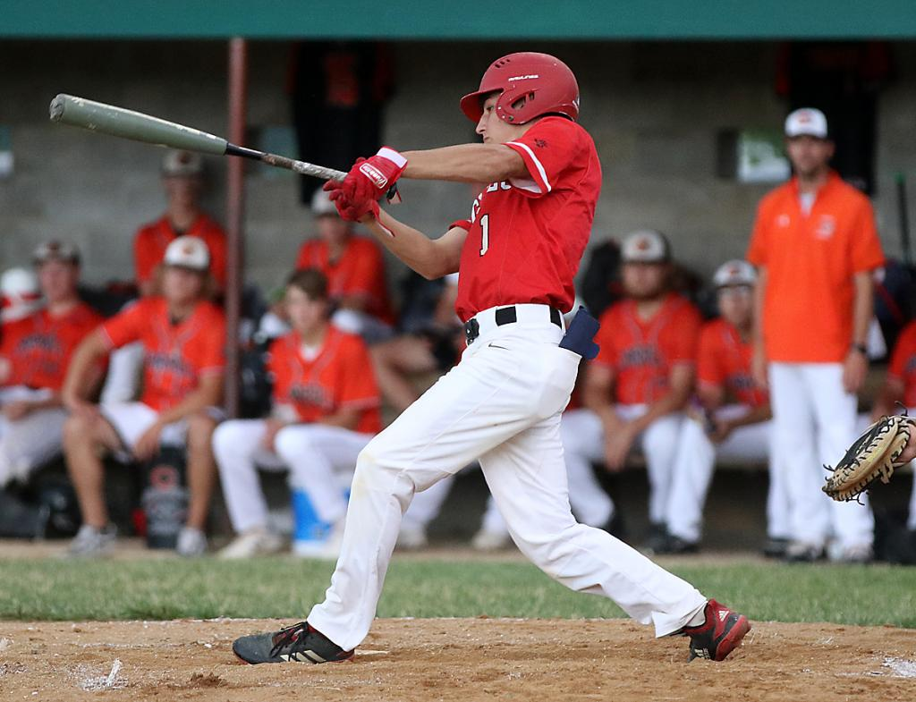 Cyclone junior Luke Musich hits a single during Tuesday's first inning. He later scored a run during the Cyclones' pivotal four-run third. (Photos by Mike Oeffner)