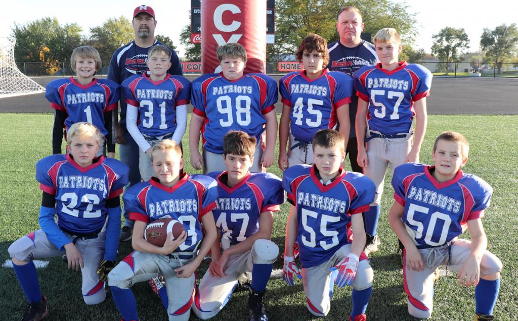 The Harlan Patriots 6th grade football team finished the season with a 5-1 record and took second place in the WDMLPYFL. Front row, L-R: Nolan Schwery, Spencer Fink, Aiden Ransom, Corey Lee, Jesse Jens. Middle row, L-R: Kaynen Urbanec, Brody McKinley, Malcolm McDonald, Kai Finken, Lukas Francis. Back row, L-R: Head Coach Jim McKinley, Assistant Coach Caleb Rihner. Not pictured: Shane Noeth, Jacob Brouse, Alex Heithoff, Assistant Coach Paul Schwery.
