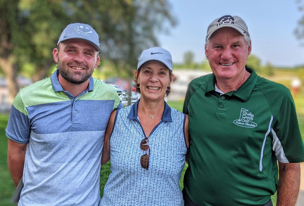 Left-right: Broghan Kelly, Sharon Gubbels and Ken Leinen were this year's winners at the Rosman Glendale Shelby County Golf Course championship tournament. (Photo contributed)