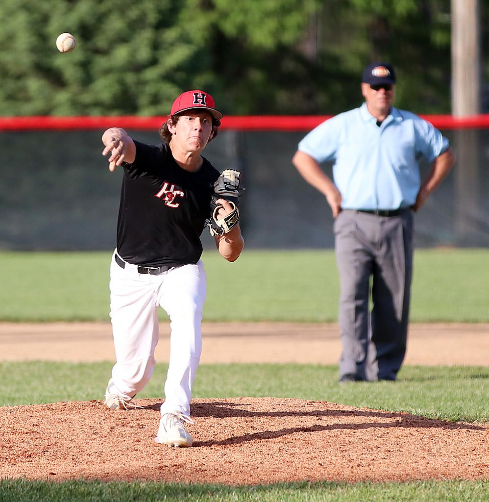 HCHS sophomore Stephen Leinen pitched three and one-third innings of relief to earn the win in game one.