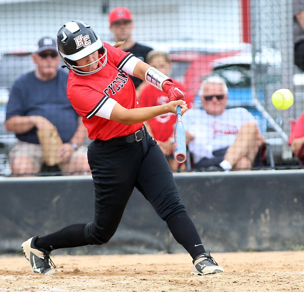 HCHS senior Julia Schechinger hits an RBI single in the third inning.
