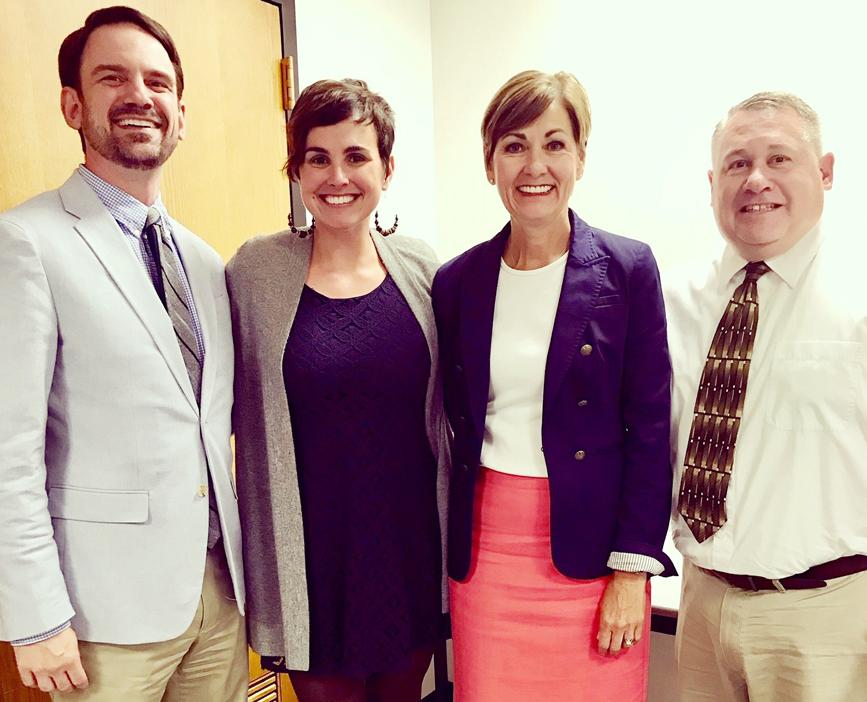 Meeting recently to discuss mental health initiatives were L to R -- Ryan Wise, Dept. of Education Director; Katie Sandquist, Myrtue's School-Based Therapist for 6th through 12th grade students; Governor Kim Reynolds; and Scott Frohlich, Harlan Community High School Principal.  (Photo contributed)