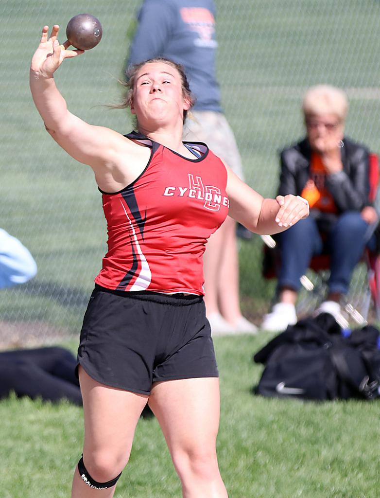 HCHS sophomore Madison Schumacher placed fifth in the shot put.