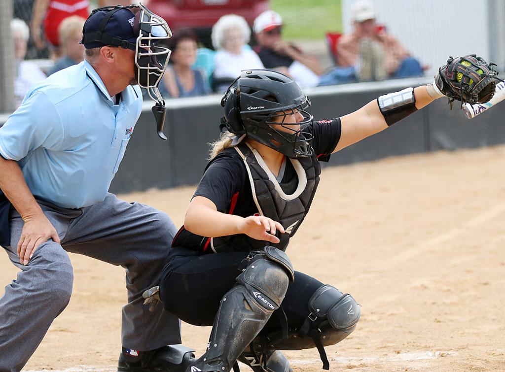 HCHS sophomore Madison Schumacher catches a pitch vs. Shenandoah.