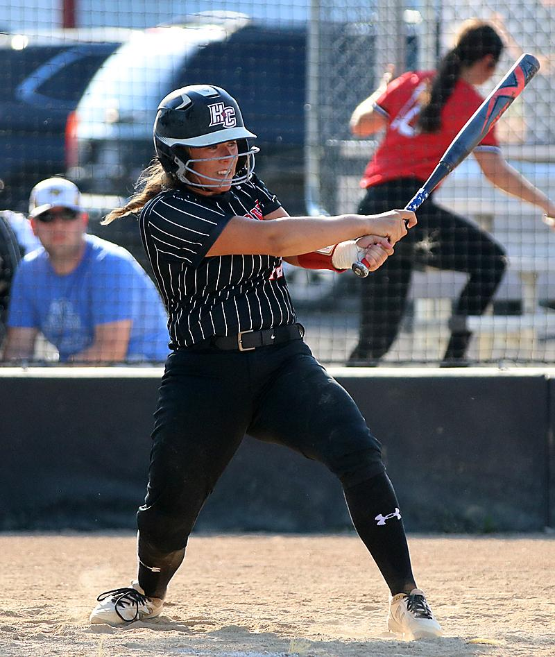 HCHS senior Madison Schumacher hit a pair of singles and added a sacrifice fly during Monday's 7-4 home loss to St. Albert. (Photos by Mike Oeffner)
