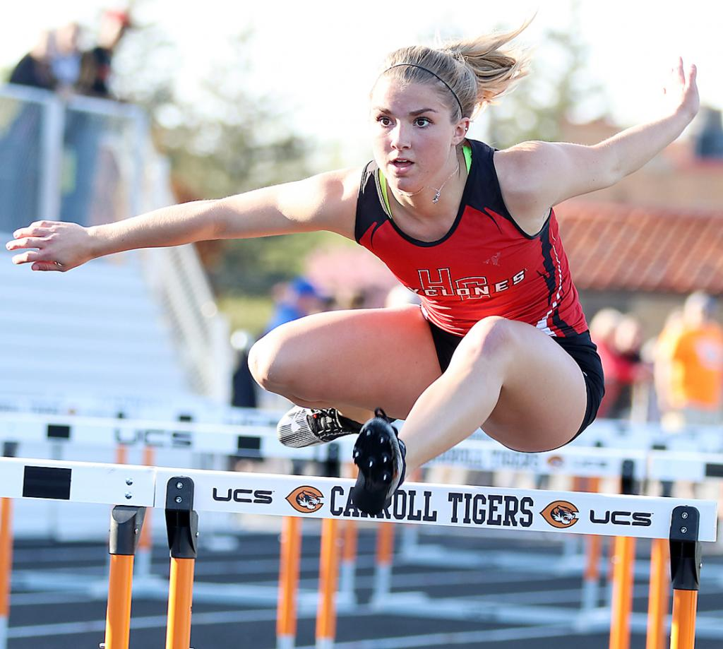 Harlan Community senior Chloe Hansen anchors the Cyclone shuttle hurdle relay to third place and an at-large state berth at Friday's state qualifying meet.