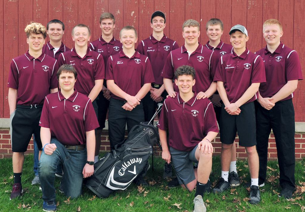 Exira-Elk Horn-Kimballton Boys Golf Team -- Front row, L-R: Jack LaCanne and Dane Paulsen. Middle row, L-R: Ethan Marxen, Ev Carroll, Will Carroll, Cade Bruns, Cole Burmeister. Back row, L-R: Ethan Andersen, Trey Nelson, Jayden Jensen, Tyler Petersen, Carson Anderson. (Photo courtesy of Beth Hansen)